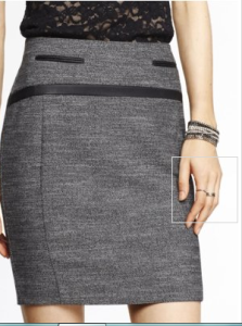 The touch of leather in this pencil skirt gives it a bit of edge, while keeping it office appropriate.